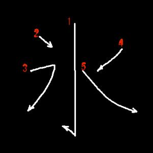 """Jouyou Kanji """"氷"""" Stroke Order"""