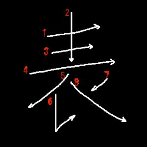 """Jouyou Kanji """"表"""" Stroke Order"""