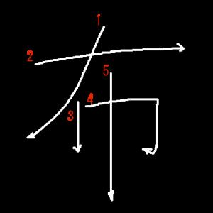 """Jouyou Kanji """"布"""" Stroke Order"""