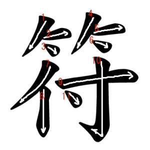 """Jouyou Kanji """"符"""" Stroke Order"""