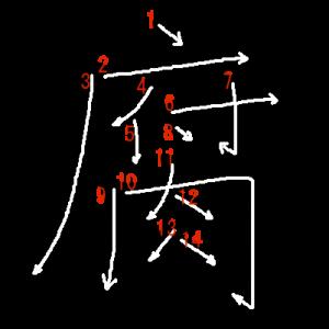 """Jouyou Kanji """"腐"""" Stroke Order"""