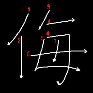 """Jouyou Kanji """"侮"""" Stroke Order"""