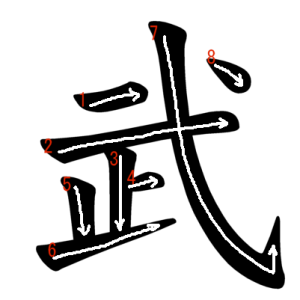"""Jouyou Kanji """"武"""" Stroke Order"""
