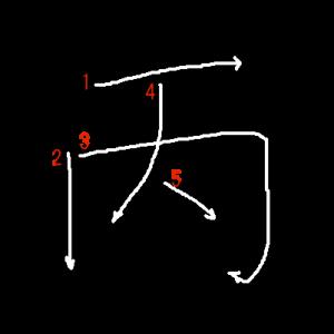 """Jouyou Kanji """"丙"""" Stroke Order"""