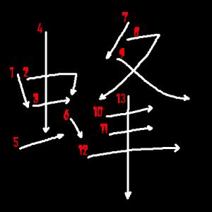 """Jouyou Kanji """"蜂"""" Stroke Order"""