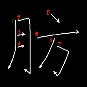 """Jouyou Kanji """"肪"""" Stroke Order"""