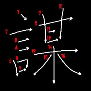 """Jouyou Kanji """"謀"""" Stroke Order"""