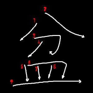 """Jouyou Kanji """"盆"""" Stroke Order"""