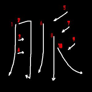 """Jouyou Kanji """"脈"""" Stroke Order"""