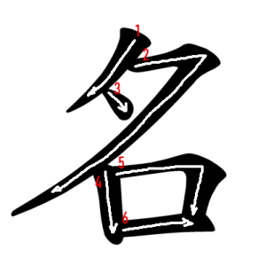 """Jouyou Kanji """"名"""" Stroke Order"""