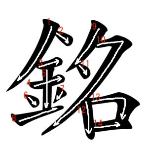 """Jouyou Kanji """"銘"""" Stroke Order"""