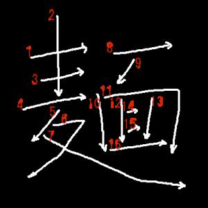 """Jouyou Kanji """"麺"""" Stroke Order"""