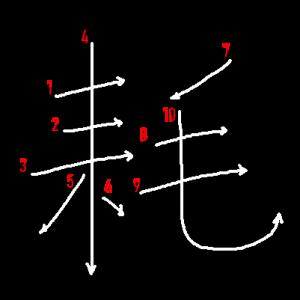 """Jouyou Kanji """"耗"""" Stroke Order"""