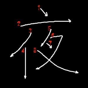 """Jouyou Kanji """"夜"""" Stroke Order"""