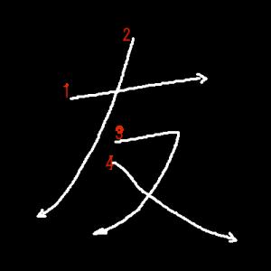 """Jouyou Kanji """"友"""" Stroke Order"""