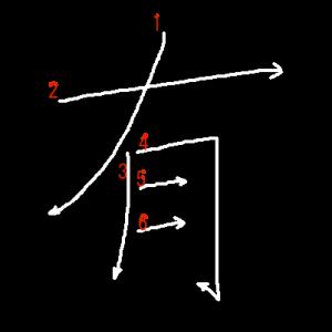 """Jouyou Kanji """"有"""" Stroke Order"""