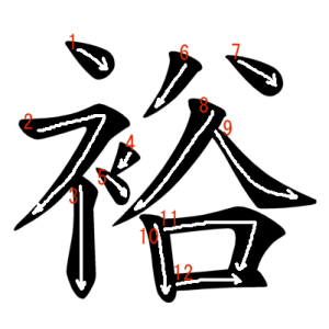 """Jouyou Kanji """"裕"""" Stroke Order"""