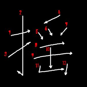 """Jouyou Kanji """"揺"""" Stroke Order"""