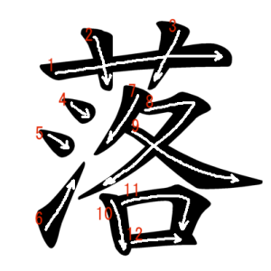"""Jouyou Kanji """"落"""" Stroke Order"""