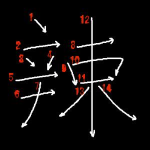 """Jouyou Kanji """"辣"""" Stroke Order"""