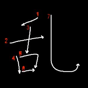"""Jouyou Kanji """"乱"""" Stroke Order"""