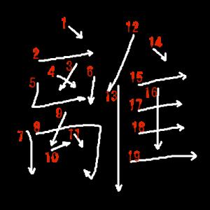 """Jouyou Kanji """"離"""" Stroke Order"""