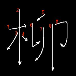 """Jouyou Kanji """"柳"""" Stroke Order"""