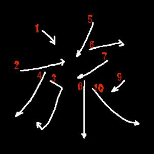 """Jouyou Kanji """"旅"""" Stroke Order"""