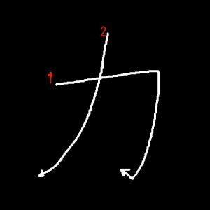 """Jouyou Kanji """"力"""" Stroke Order"""