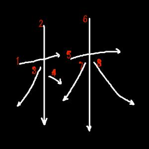 """Jouyou Kanji """"林"""" Stroke Order"""