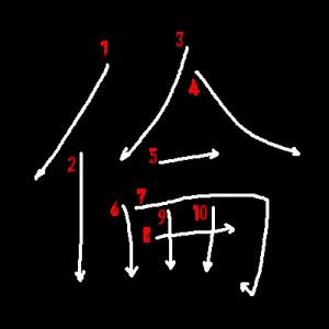 """Jouyou Kanji """"倫"""" Stroke Order"""