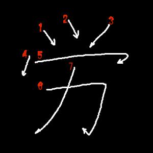 """Jouyou Kanji """"労"""" Stroke Order"""
