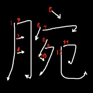 """Jouyou Kanji """"腕"""" Stroke Order"""